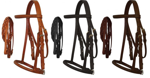 Horse Size English headstall with raised browband and braided leather reins.