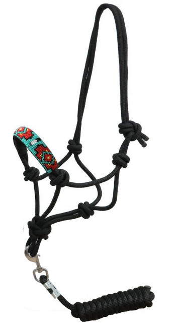 Showman ® Beaded nose cowboy knot rope halter with 7' lead. ..