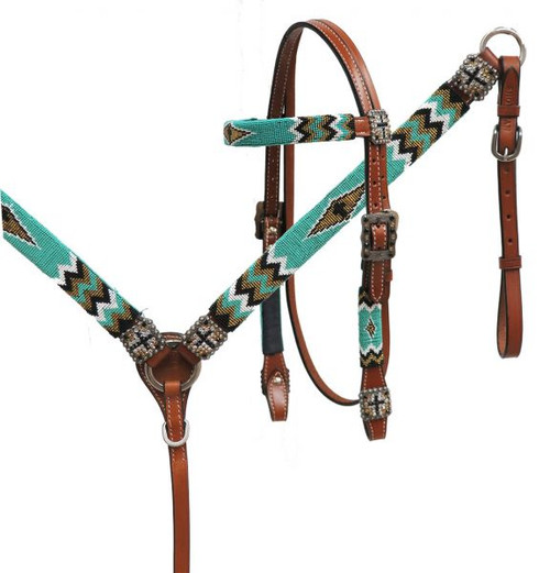 Showman ® Beaded headstall & breast collar set.
