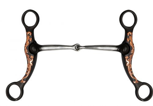 """Showman ® 5.5"""" Brown steel bit with engraved copper overlay."""