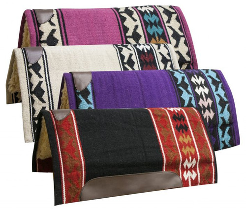 """32 x 34 Economy cutter saddle pad with woven wool top and 1"""" fleece bottom."""