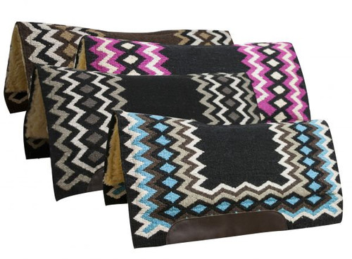 """Showman® 34"""" x 36"""" Contoured cutter style wool top saddle pad with diamond pattern."""