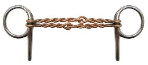 """Stainless steel half cheek bit with 5"""" double twisted copper mouth."""
