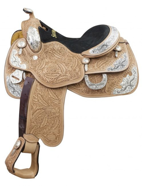 """16"""" Showman ® Argentina cow leather show saddle with oak leaf tooling and engraved silver plates."""
