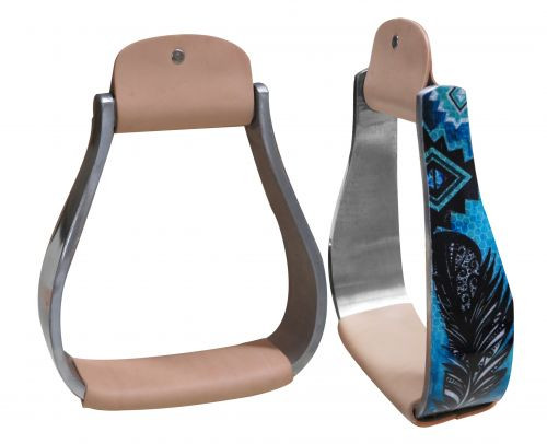Showman ® Holographic feather print stirrup.