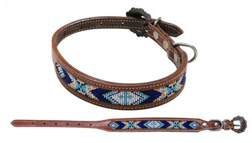 Showman Couture ™ Beaded inlay leather dog collar with copper buckle.