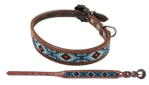 Showman Couture ™ Beaded inlay leather dog collar with copper buckle