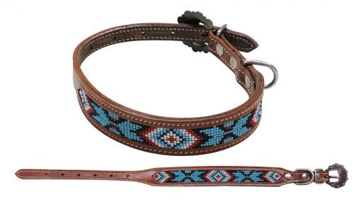 Showman Couture ™ Beaded inlay leather dog collar with copper buckle. .