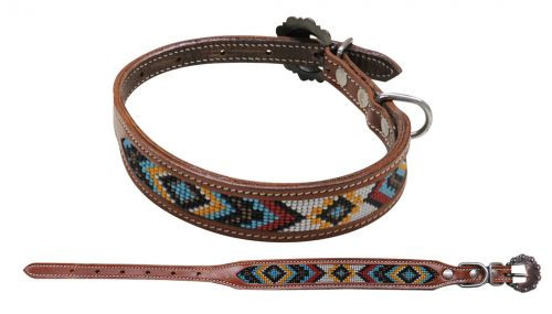 Showman Couture ™ Beaded inlay leather dog collar with copper buckle. ..