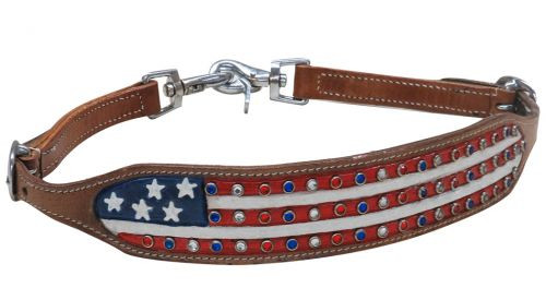 Showman® American flag wither strap with crystal rhinstone studs.