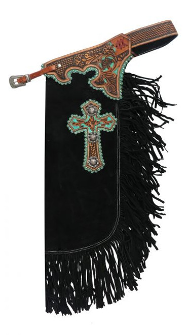 Showman ® suede leather chinks with cross design.