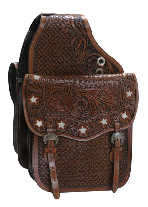 Showman ® tooled leather saddle bag with hair-on cut out stars.
