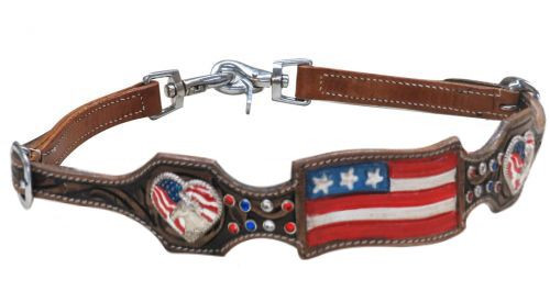 Showman® Hand painted American flag wither strap.