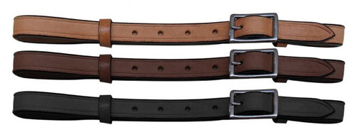 Adjustable leather cinch connector strap with nickel plated buckle.
