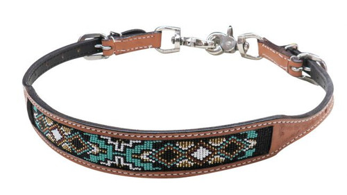 Showman ® Light Argentina cow leather wither strap with beaded inlay.
