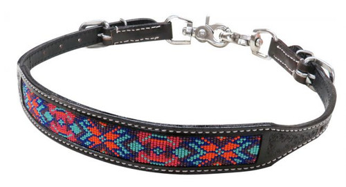Showman ® Dark chocolate Argentina cow leather wither strap with beaded inlay.