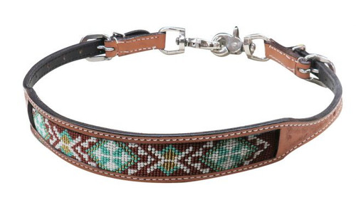 Showman ® Light Argentina cow leather wither strap w/beaded inlay.