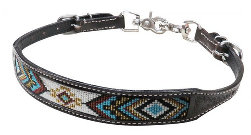 Showman ® Dark chocolate Argentina cow leather wither strap with beaded inlay
