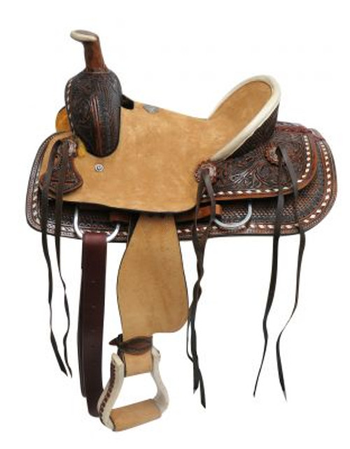 """12"""" Double T Youth hard seat roper style saddle with basket and floral tooled leather."""