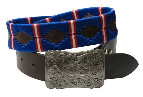 Showman Couture ™  Blue, red and  white wrap embroidered belt.