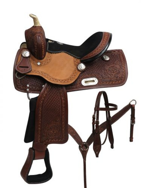 "12"" Double T Youth barrel style saddle set with zigzag,basket weave and floral tooling."