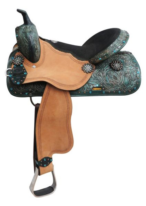 """16"""" Double T  barrel style saddle with spur rowel conchos."""