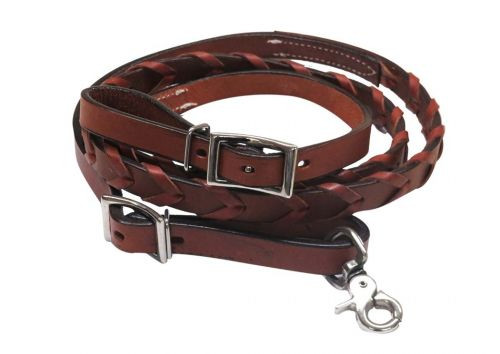 """Showman ® 6ft x 3/4"""" leather laced contest rein."""