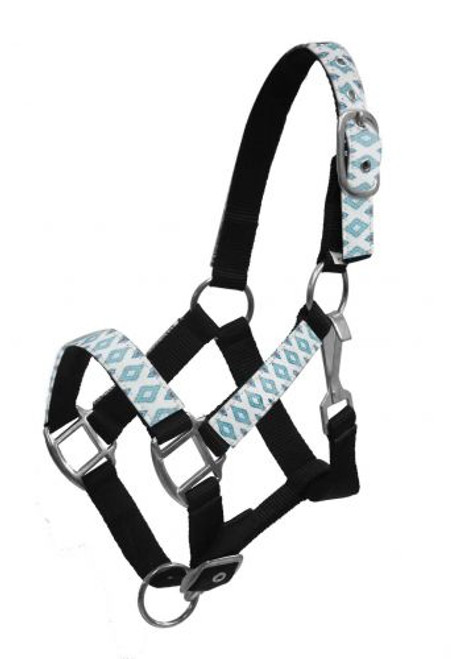 Showman ® PONY Halter with brown and teal Navajo diamond print overlay.