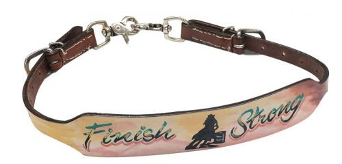 "Showman ® Hand painted "" Finish Strong"" wither strap with barrel racer design."
