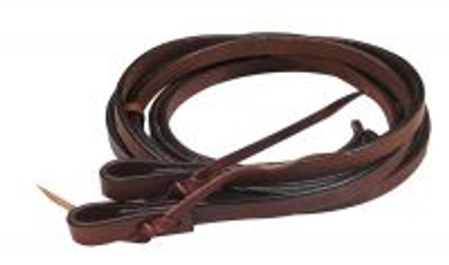 """Showman ® 6.5ft x 1/2"""" soft leather split reins with tie-on bit loop ends."""