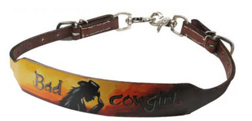 "Showman ® Hand painted ""Bad Cowgirl"" wither strap."