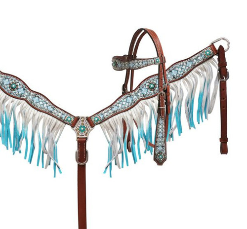 Showman ® Blue diamond headstall and breast collar set.