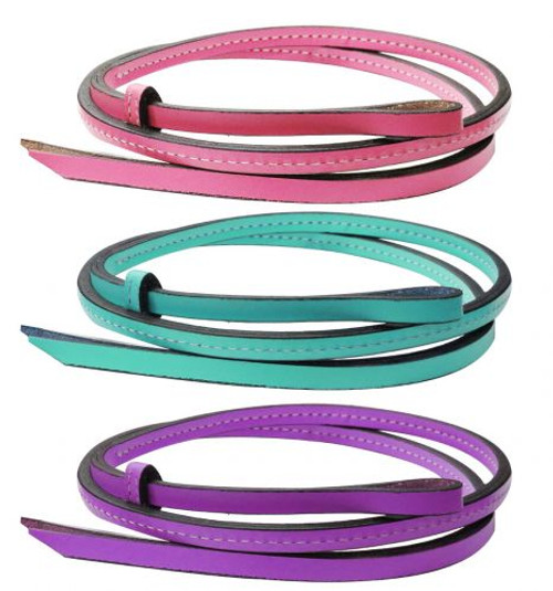 """Showman ® 50"""" x 1/2"""" Colored leather over & under whip."""