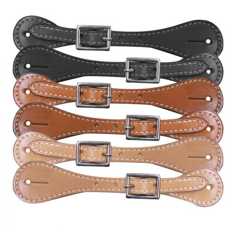 """Youth leather spur straps. Easily adjust with nickel plated buckle 6""""-8""""."""