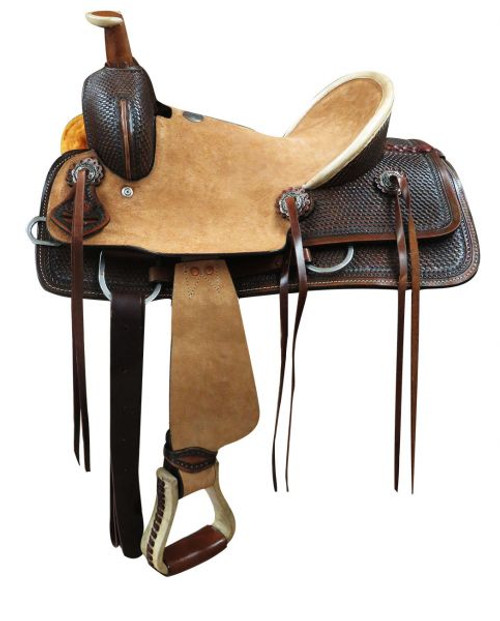 "13"" Double T  Youth hard seat roper style saddle..."