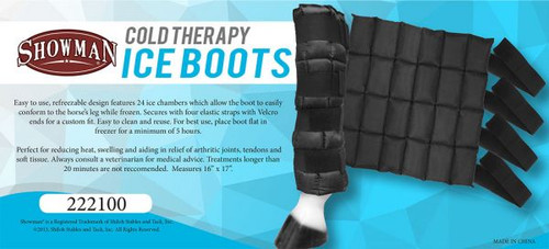 """Showman ® 16"""" x 17"""" Cold Therapy Ice Boots."""