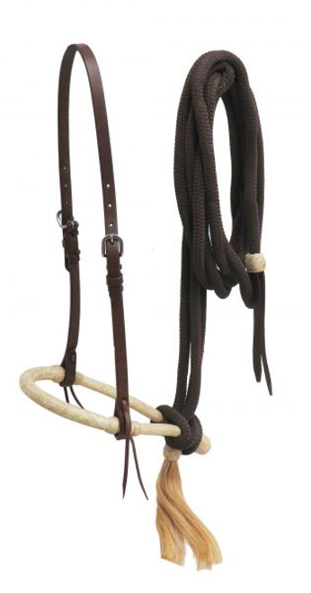 Showman ® Oiled harness leather bosal headstall with nylon mecate reins.