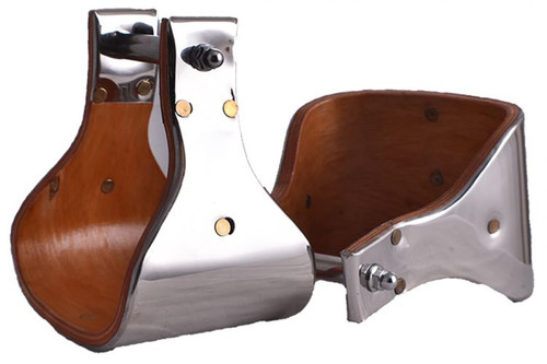 """Showman ® Polished stainless steel covered wood stirrups with 5"""" tread."""