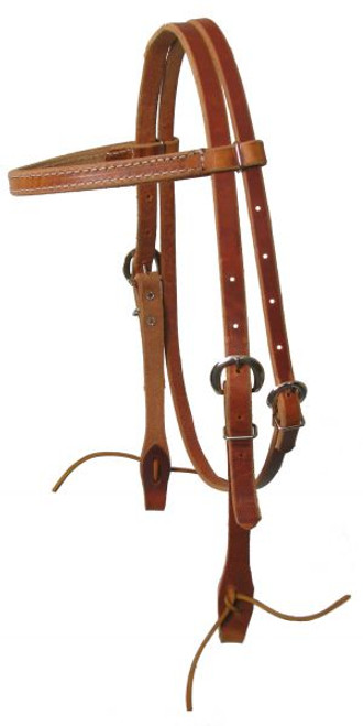 Medium Oil Browband Harness Leather Headstall with Ties