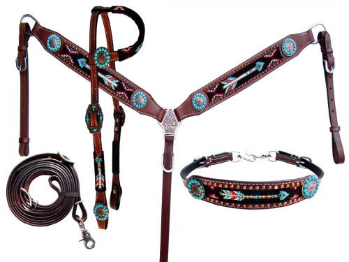Showman ® 4 Piece beaded arrow headstall and breast collar set.