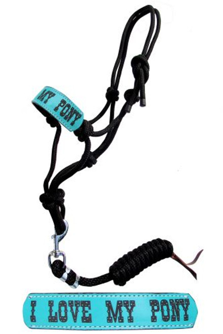 """Showman ® Pony size rope halter with turquoise leather noseband with """" I love My Pony""""."""