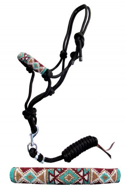 Showman ® Pony Beaded nose cowboy knot rope halter with 7' lead.