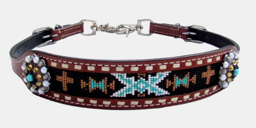 Showman ® Medium leather wither strap with cross and navajo beaded inlay.