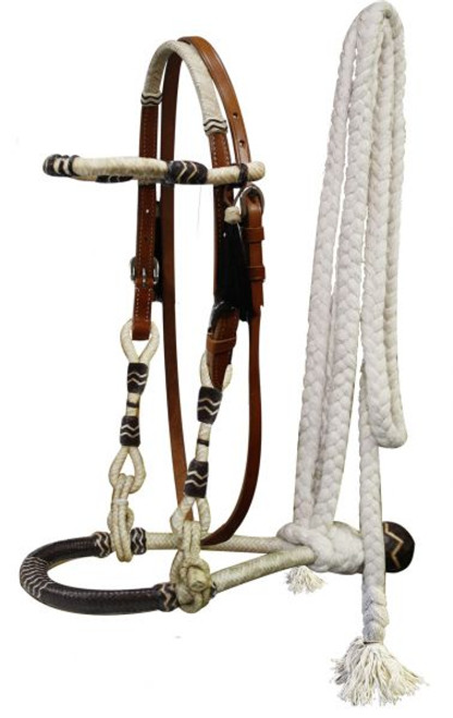 Showman™ Fine quality rawhide core show bosal with a cotton mecate rein.