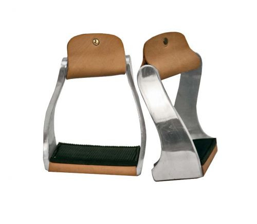 Showman ® Lightweight aluminum twisted pony/youth stirrups with rubber grip treads.