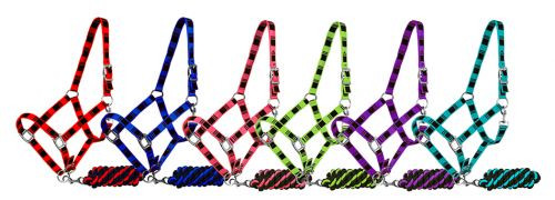 3ply nylon average adjustable horse halter and cotton lead.