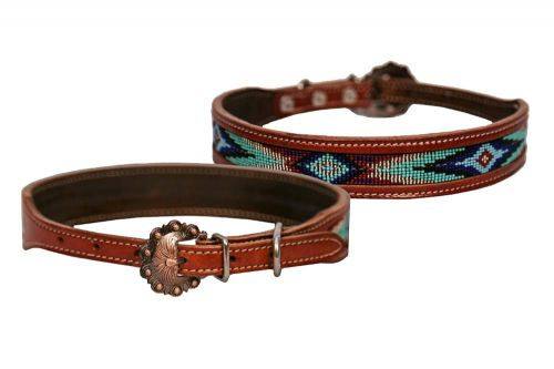 Showman Couture ™ Genuine leather dog collar beaded inlay. .