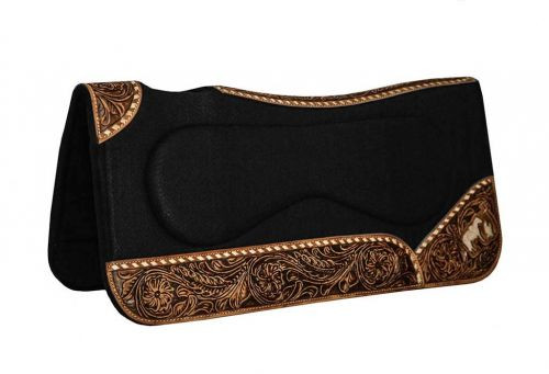 """Showman ® 31"""" x 32"""" x 1"""" Black felt pad with built up sides and cut out praying cowboy on wear leathers."""