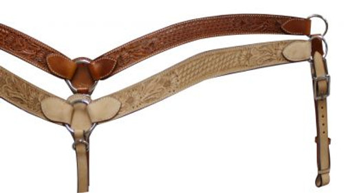 """Leather breastcollar has floral and basketweave tooling. Measures 1.75"""" wide and has 0.75"""" tugs."""