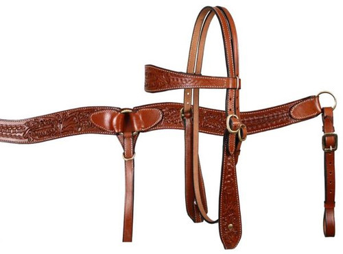 Showman™ double stitched leather wide browband headstall and breast collar set with acorn and basketweave tooling.